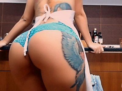 bizarre   booty   busty   kitchen   tattoo